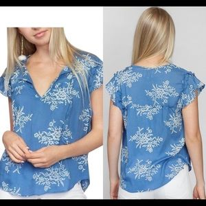 MISA Los Angeles Blue Ale Embroidered blouse